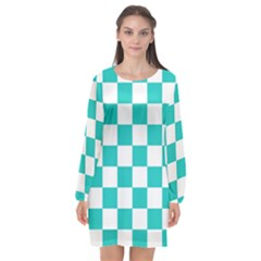Pattern Long Sleeve Chiffon Shift Dress