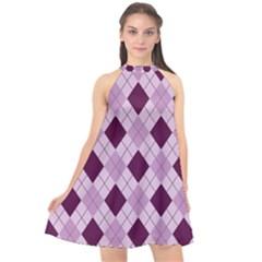 Plaid Pattern Halter Neckline Chiffon Dress  by Valentinaart