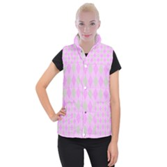 Plaid Pattern Women s Button Up Puffer Vest by Valentinaart