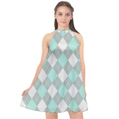 Plaid Pattern Halter Neckline Chiffon Dress