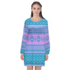 Pattern Long Sleeve Chiffon Shift Dress