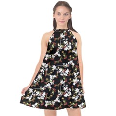 Dark Chinoiserie Floral Collage Pattern Halter Neckline Chiffon Dress  by dflcprintsclothing
