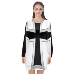 Cross Of The Teutonic Order Long Sleeve Chiffon Shift Dress