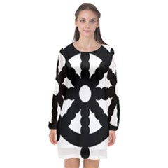 Dharmacakra Long Sleeve Chiffon Shift Dress  by abbeyz71
