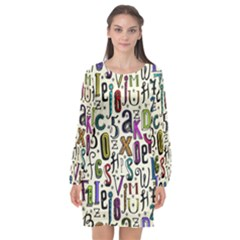 Colorful Retro Style Letters Numbers Stars Long Sleeve Chiffon Shift Dress