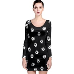 Footprints Dog White Black Long Sleeve Bodycon Dress by EDDArt