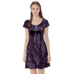 Purple Branches Short Sleeve Skater Dress by greenthanet