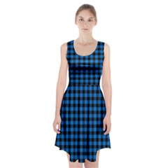 Lumberjack Fabric Pattern Blue Black Racerback Midi Dress by EDDArt