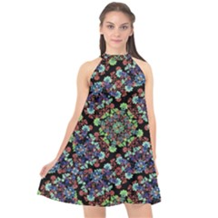 Colorful Floral Collage Pattern Halter Neckline Chiffon Dress
