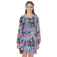 Cracked Tiles       Long Sleeve Chiffon Shift Dress by LalyLauraFLM