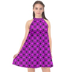 Friendly Retro Pattern G Halter Neckline Chiffon Dress  by MoreColorsinLife