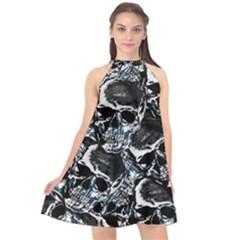 Skulls Pattern Halter Neckline Chiffon Dress  by ValentinaDesign