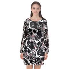 Skull Pattern Long Sleeve Chiffon Shift Dress