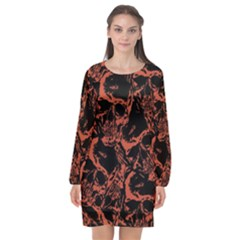 Skull Pattern Long Sleeve Chiffon Shift Dress  by ValentinaDesign