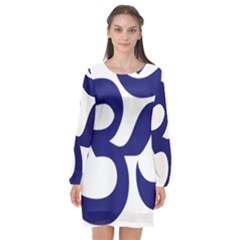 Om Symbol (midnight Blue) Long Sleeve Chiffon Shift Dress