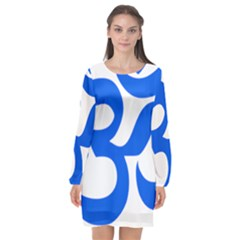 Hindu Om Symbol (blue) Long Sleeve Chiffon Shift Dress