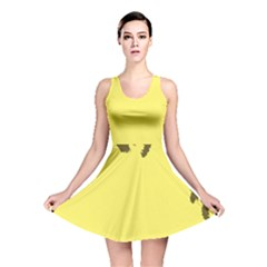 Banner Polkadot Yellow Grey Spot Reversible Skater Dress by Mariart