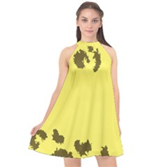 Banner Polkadot Yellow Grey Spot Halter Neckline Chiffon Dress
