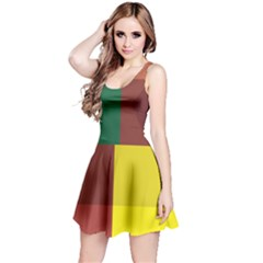 Albers Out Plaid Green Pink Yellow Red Line Reversible Sleeveless Dress by Mariart