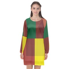 Albers Out Plaid Green Pink Yellow Red Line Long Sleeve Chiffon Shift Dress  by Mariart
