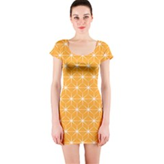 Yellow Stars Iso Line White Short Sleeve Bodycon Dress by Mariart