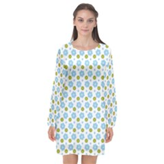 Blue Yellow Star Sunflower Flower Floral Long Sleeve Chiffon Shift Dress  by Mariart