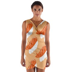 Fish Eat Japanese Sushi Wrap Front Bodycon Dress by Mariart