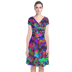 Flowersfloral Star Rainbow Short Sleeve Front Wrap Dress by Mariart