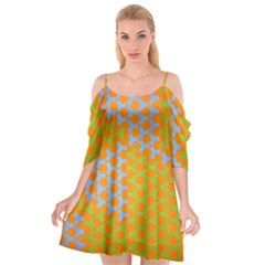 Green Blue Orange Cutout Spaghetti Strap Chiffon Dress by Mariart