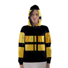 Horizontal Color Scheme Plaid Black Yellow Hooded Wind Breaker (women) by Mariart