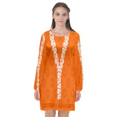 Iron Orange Y Combinator Gears Long Sleeve Chiffon Shift Dress  by Mariart