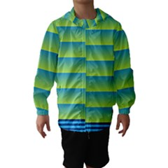 Line Horizontal Green Blue Yellow Light Wave Chevron Hooded Wind Breaker (kids) by Mariart