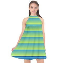 Line Horizontal Green Blue Yellow Light Wave Chevron Halter Neckline Chiffon Dress