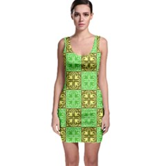 Clipart Aztec Green Yellow Sleeveless Bodycon Dress by Mariart