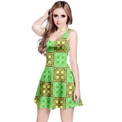 Clipart Aztec Green Yellow Reversible Sleeveless Dress by Mariart