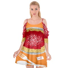 Instant Noodles Mie Sauce Tomato Red Orange Knife Fox Food Pasta Cutout Spaghetti Strap Chiffon Dress by Mariart