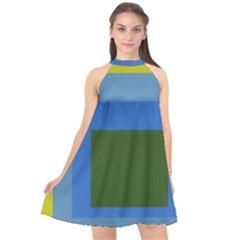 Plaid Green Blue Yellow Halter Neckline Chiffon Dress  by Mariart