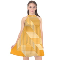 Orange Line Plaid Halter Neckline Chiffon Dress