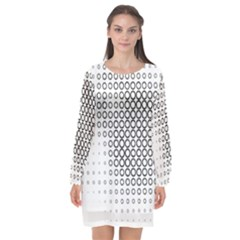 Polka Circle Round Black White Hole Long Sleeve Chiffon Shift Dress