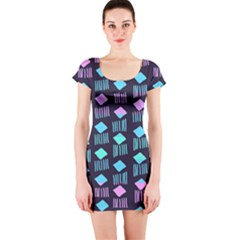 Polkadot Plaid Circle Line Pink Purple Blue Short Sleeve Bodycon Dress by Mariart