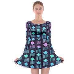 Polkadot Plaid Circle Line Pink Purple Blue Long Sleeve Skater Dress by Mariart