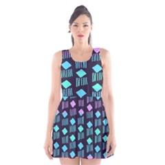 Polkadot Plaid Circle Line Pink Purple Blue Scoop Neck Skater Dress by Mariart