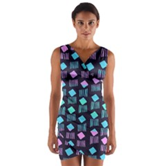 Polkadot Plaid Circle Line Pink Purple Blue Wrap Front Bodycon Dress by Mariart