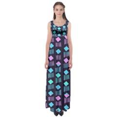 Polkadot Plaid Circle Line Pink Purple Blue Empire Waist Maxi Dress by Mariart