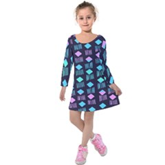 Polkadot Plaid Circle Line Pink Purple Blue Kids  Long Sleeve Velvet Dress by Mariart