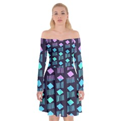 Polkadot Plaid Circle Line Pink Purple Blue Off Shoulder Skater Dress by Mariart