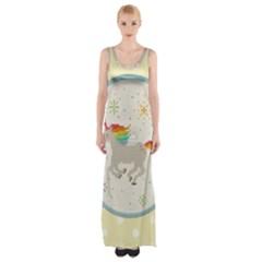 Unicorn Pattern Maxi Thigh Split Dress by Nexatart