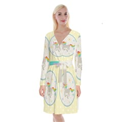 Unicorn Pattern Long Sleeve Velvet Front Wrap Dress by Nexatart