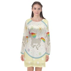 Unicorn Pattern Long Sleeve Chiffon Shift Dress  by Nexatart