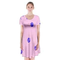 Star Space Balloon Moon Blue Pink Circle Round Polkadot Short Sleeve V Neck Flare Dress by Mariart